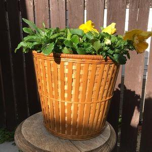 Vintage wicker basket lined planter plant pot